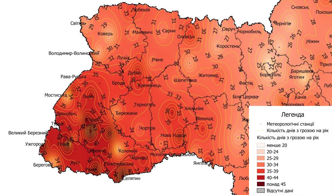 Карта грозової активності в Україні за період 2015-2019 р.р.